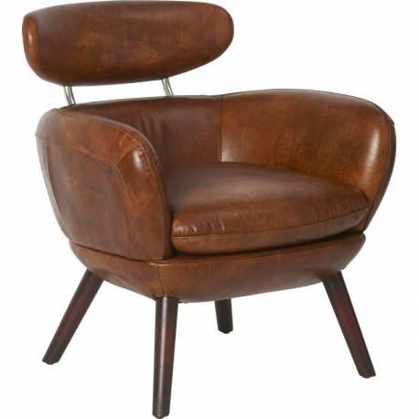 Fauteuil Havana Marque Hanjel Siège de Salon Vintage 1 Place en Hévéa Bois et Cuir Marron 72x72x77cm