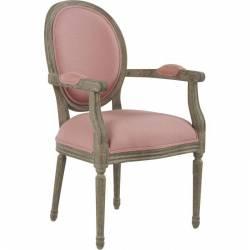 Fauteuil Louise Marque Hanjel Chaise Médaillon Style Louis XV en chêne et Tissu Rose Poudré 55x64x98cm