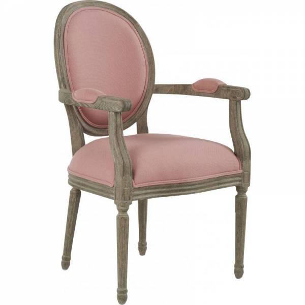fauteuil louise marque hanjel chaise m daillon style louis xv en ch ne et tissu rose poudr. Black Bedroom Furniture Sets. Home Design Ideas