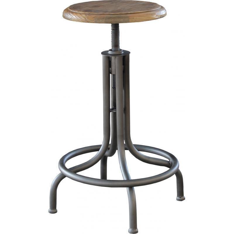 tabouret de bar montparnasse marque hanjel r 233 glable en hauteur en acier verni et bois 35x35x79cm