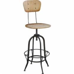 Chaise de Bar Montparnasse Marque Hanjel Tabouret Réglable en Hauteur en Acier et Bois Brut 35x73cm