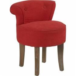 Fauteuil Bas Crapaud Marque Hanjel Chaise de Salon en Chêne et Tissu Lin 11 Coloris au Choix 44x48x56,5cm