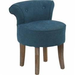 Fauteuil Crapaud Marque Hanjel Chaise Basse de Salon en Chêne et Tissu Lin Bleu Canard 44x48x56,5cm