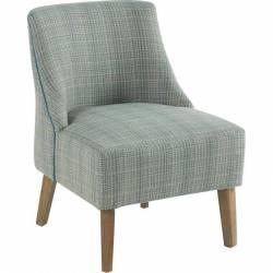 Fauteuil Crawford Marque Hanjel Siège de Salon Style Scandinave en Chêne et Tissu Turquoise Chiné 53x54x72cm