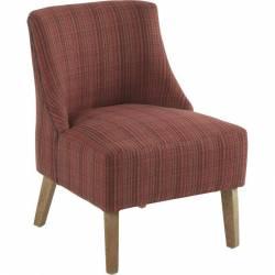 Fauteuil Crawford Marque Hanjel Siège de Salon Style Scandinave en Chêne et Tissu Rouge Chiné 53x54x72cm
