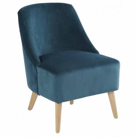 Fauteuil Crawford Marque Hanjel Siège de Salon Style Scandinave en Pin et Velours Bleu Canard 53x66x75cm
