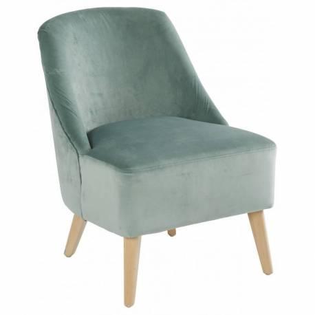 Fauteuil Crawford Marque Hanjel Siège de Salon Style Scandinave en Pin et Velours Vert de Gris 53x66x75cm