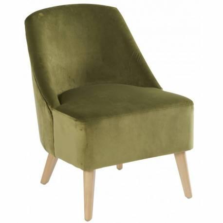 Fauteuil Crawford Marque Hanjel Siège de Salon Style Scandinave en Pin et Velours Vert Mousse 53x66x75cm