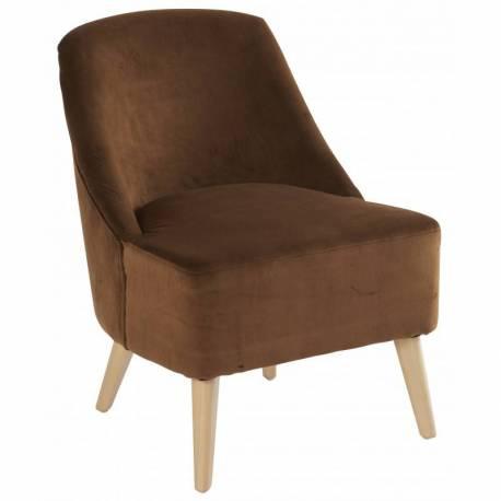 Fauteuil Crawford Marque Hanjel Siège de Salon Style Scandinave en Pin et Velours Caramel 53x66x75cm