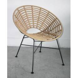 Fauteuil Toma Façon Chaise en Rotin en Acier et Plastique Couleur Naturel 63x73x77cm