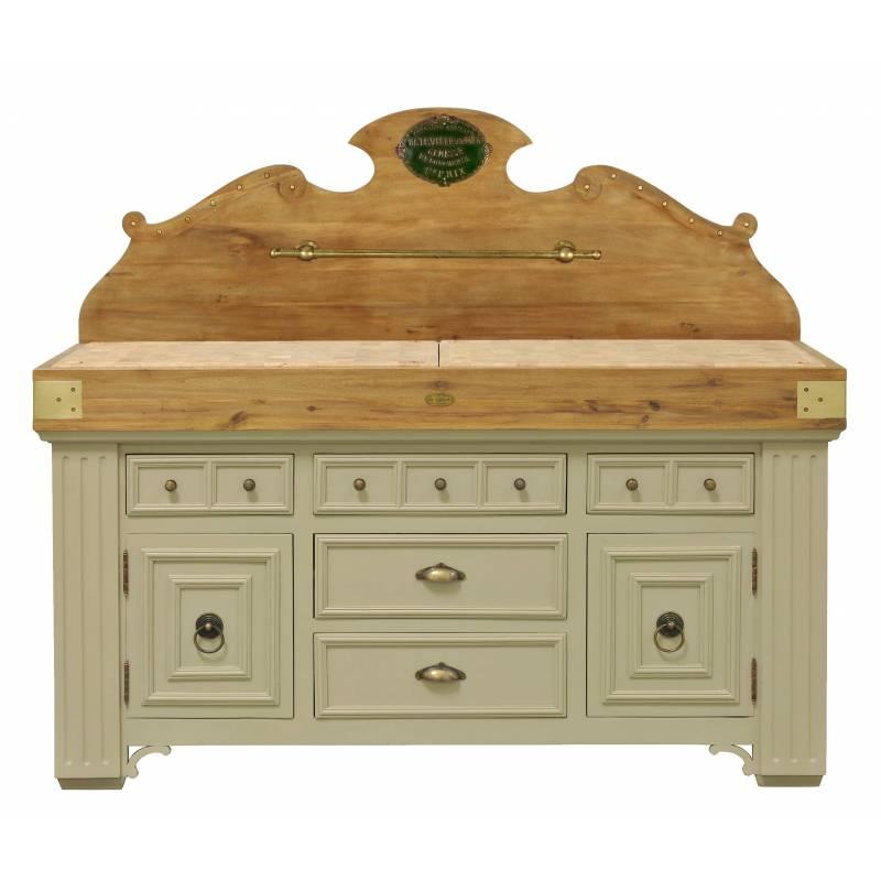 Billot de cuisine de kercoet comptoir meuble de rangement en acacia massif h - Meuble en acacia massif ...