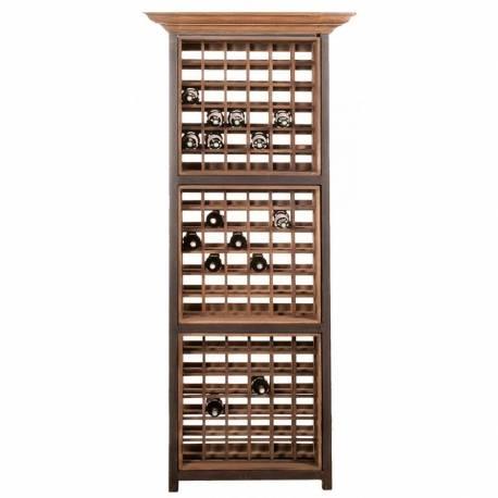 Sublime Vinothèque De Kercoet Colonne à Casiers Rangement Bouteilles en Acacia et Métal Gris 40x77x215cm