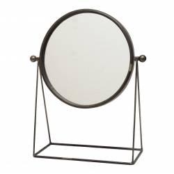 Miroir Trumeau Glace Ronde sur Pied a Poser Psyché en Fer Patiné Gris 14x37,5x46cm