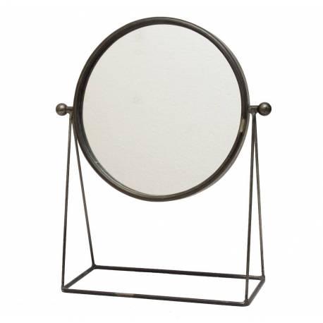 Miroir Trumeau Glace Ronde sur Pied a Poser Psyché en Fer Patiné Gris 4x14x37,5cm