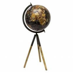 Grande Mappemonde Globe Terrestre Décoratif Rotatif Planisphère sur Trépied Carte Ronde 30x30x65cm