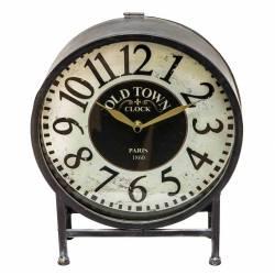 Horloge de Comptoir Style Ancienne Aiguilles Heures Minutes Chiffres Arabes Pendule sur Pied à Poser en Fer Gris-Noir 9x27x32m
