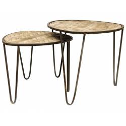 Lot de 2 Tables Basses Consoles Dessertes Gigognes Triangulaires en Bois Sculpté et Fer Patiné Noir