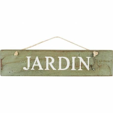 Ecriteau Rectangulaire Plaque Panneau Nominatif Enseigne Jardin en Bois Patiné Vert 1,5x14x42cm