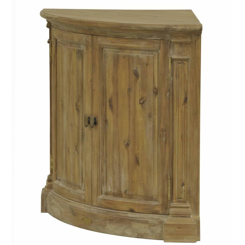 Encoignure de kercoet meuble bas duangle de coin en acacia for Meuble coin tv