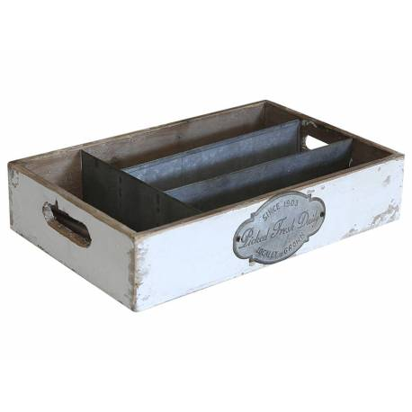 Panier à Couverts Range Ustensiles Casier Quatre Compartiments Boite à Couverts en Pin Patiné et Zinc 7x21x33cm