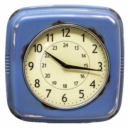 Horloge Murale Style Ancienne Réveil Matin Pendule en Fer Bleu Vieilli et Verre 7,5x26,5x26,5cm