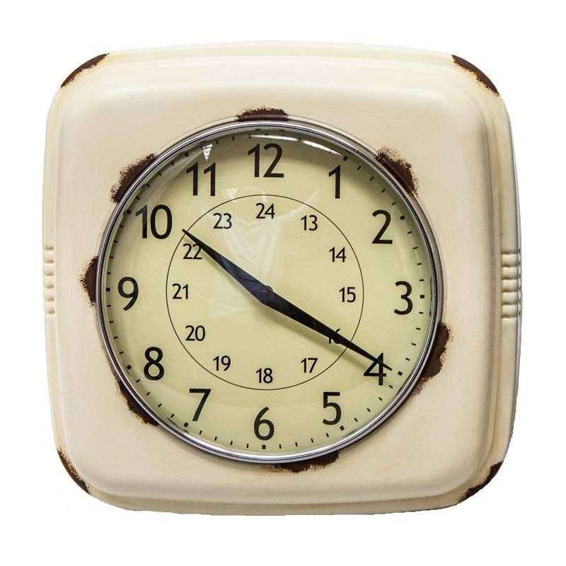 Horloge murale style ancienne r veil matin pendule en fer beige vieilli et verre ebay for Horloge en fer