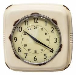 Horloge Murale Style Ancienne Réveil Matin Pendule en Fer Beige Vieilli et Verre 7,5x26,5x26,5cm