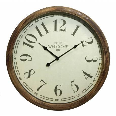 Grande Horloge Ronde Pendule Murale Vintage Style Antique en Bois et Verre 11x51x51cm