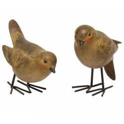 Couple ou Lot de 2 Oiseaux Volatiles Décoratifs en Résine Décorée 4,5x8,5x9cm