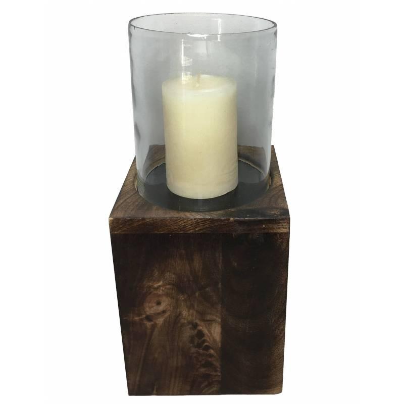 Photophore bougeoir lampe porte bougie avec socle en bois for Porte bougie en bois