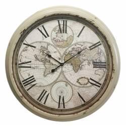 Horloge Géante Murale en Fer avec Vitre en Verre Jolie Pendule Thème Mappemonde 8,5x94x94cm