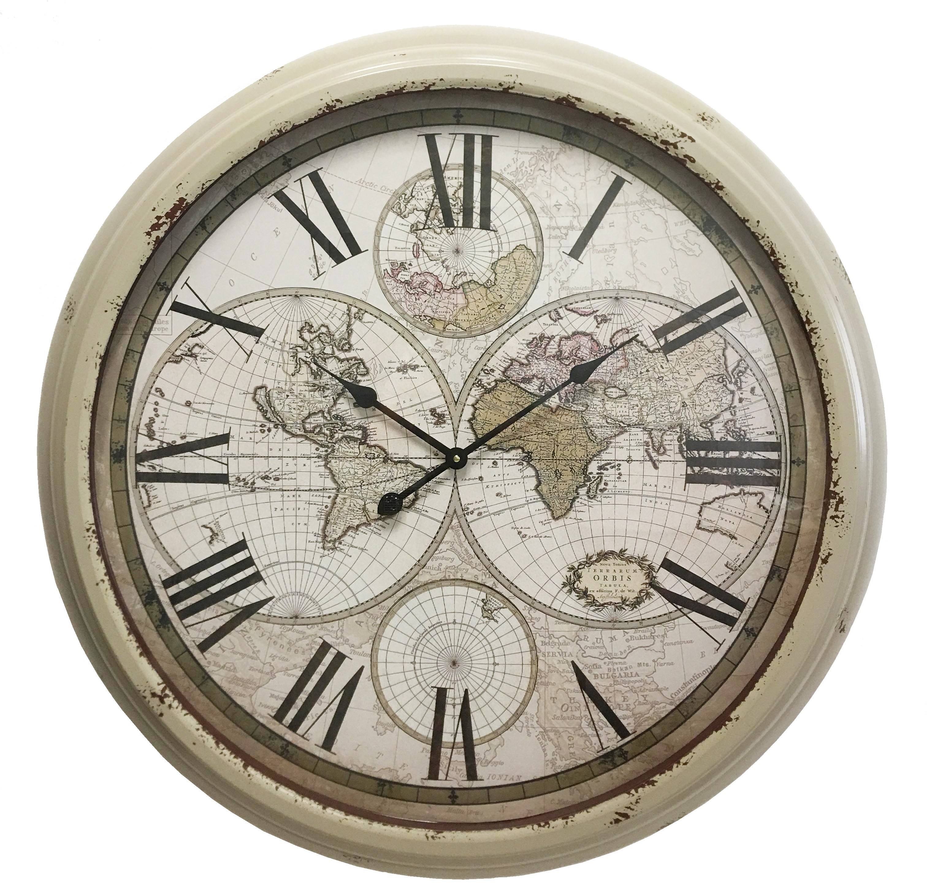 horloge géante murale en fer avec vitre en verre jolie pendule