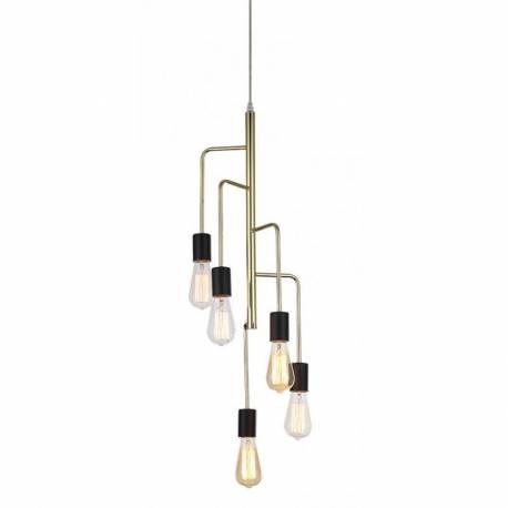 Magnifique lustre igmar marque athezza luminaire à suspendre plafonnier 5 lampes ampoule laiton doré 25x25x120cm