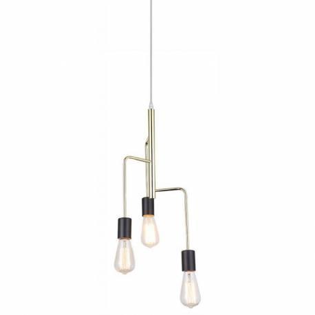 Magnifique Lustre Igmar Marque Athezza Luminaire à Suspendre Plafonnier 3 Lampes Ampoules Laiton Doré 25x25x120cm