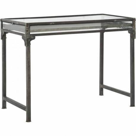 Table Showcase Marque Hanjel Console de Présentation Vitrine en Acier Verni et Verre 60x90x120cm