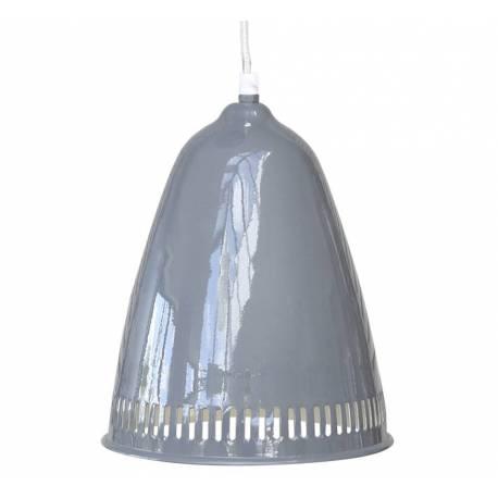 Superbe Lustre Emaillé Suspension Lumineuse Luminaire Intérieur 1 Lampe en Fer Emaillé Gris 21,5x21,5x27cm