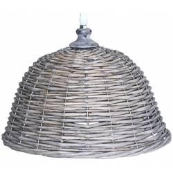 Lustre Corbeille Luminaire Tressé Suspension Lumineuse 1 Lampe Eclairage Intérieur en Rotin 28x31x31cm
