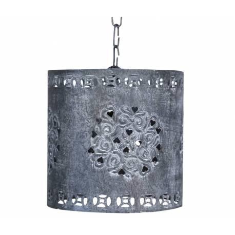 Suspension Lumineuse Electrique Plafonnier Lustre Eclairage 1 Lampe en Fer Patiné Gris Ajouré 18,5x19x19cm