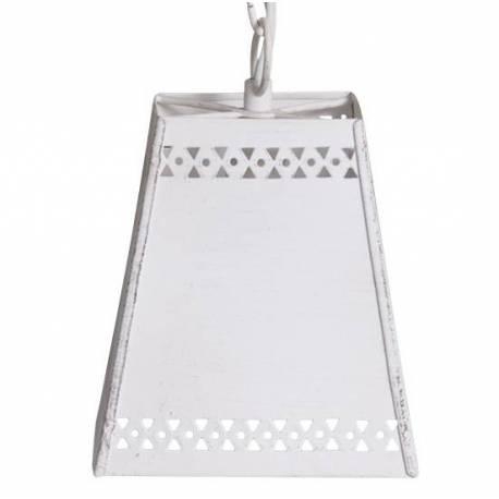 Superbe Lustre Suspension Lumineuse Luminaire Intérieur 1 Lampe en Fer Patiné Blanc 14x14x15,5cm