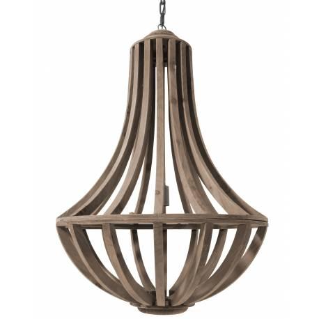 Superbe Lustre de Charme Lara Suspension Lumineuse 1 Lampe Plafonnier en Bois 61x61x90cm