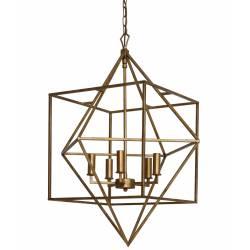 Magnifique Lustre Eléonore Luminaire à Suspendre Plafonnier 5 Lampes Ampoules en Métal Doré 66x66x93cm