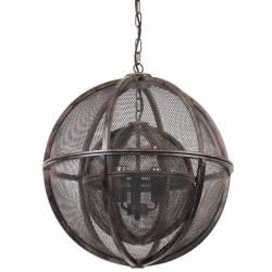 Lustre Double Sphères Suspension Lumineuse Luminaire 5 Lampes Ampoules Style Industriel en Métal Grillagé Marron 55x55x55cm
