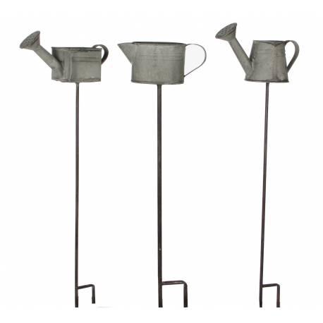 Lot de 3 Tuteurs de Jardin Pics de Potager Décoratifs Motifs Arrosoirs sur Tige en Fer Gris et Noir 8x8x56cm