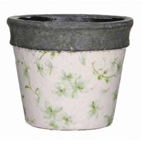 Grand Cache Pot Etanche Style Champêtre aux Motifs Floraux Verts en Terre Cuite Emaillée 14,5x17x17cm