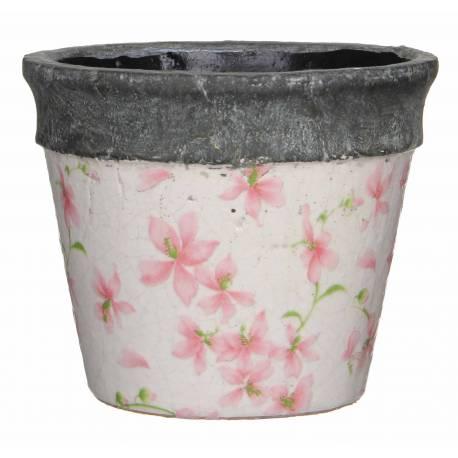 Grand Cache Pot Etanche Style Champêtre aux Motifs Floraux Roses en Terre Cuite Emaillée 14,5x17x17cm