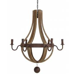 Lustre Laurinde Luminaire à Suspendre Eclairage de Plafond 6 Lampes Ampoules en Bois et Métal Marron 88x88x99cm