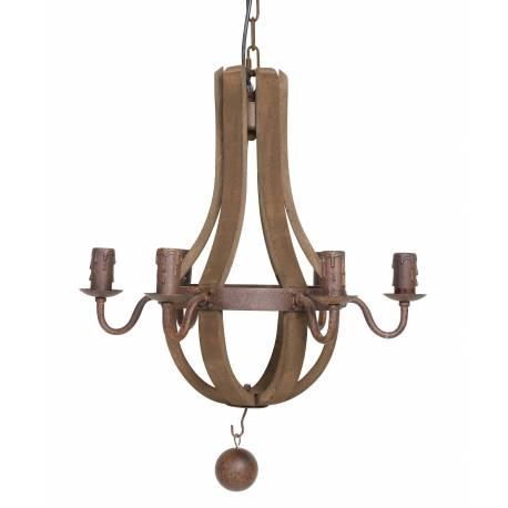 Lustre laurinde luminaire à suspendre eclairage de plafond 6 lampes ampoules en bois et métal marron