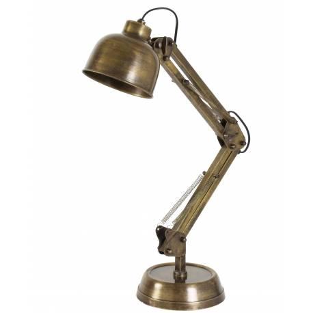 Jolie Lampe Electrique de Bureau à Poser Luminaire de Table en Fer avec Abat Jour en Métal Couleur Bronze 17x17x60cm