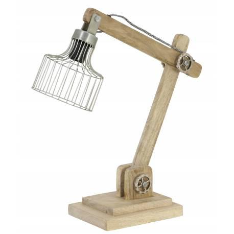 Lampe Electrique de Bureau à Poser Luminaire de Table Vintage avec Abat Jour en Bois et Métal Couleur Cuivre 18x55x58cm
