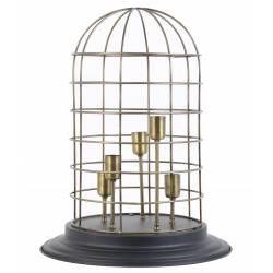 Lampe à Poser Luminaire Façon Cage à Oiseau Eclairage 5 Ampoules Déco Electrique en Fer Patiné Bronze et Noir 47x47x60cm